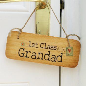 Wooden door sign 1st class grandad north east gifts - Wooden door signs for home ...