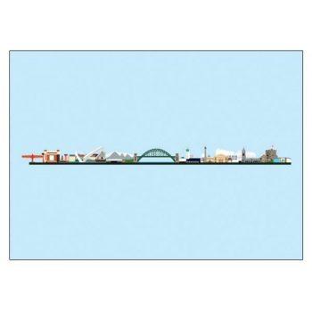 North East Skyline Pop Art Card