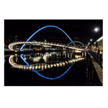 Quayside Bridges at Night Photo Print by Daniel Dent