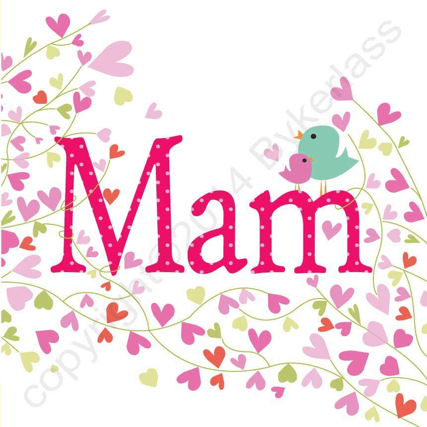 mam card hearts birds large north east gifts