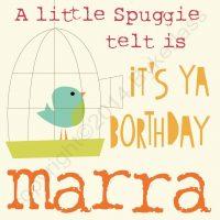 Northumbrian Birthday Card - A Little Spuggie Telt Is It's Ya Borthday Marra
