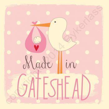 Made in Gateshead New Baby Girl Card