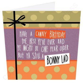 Canny Birthday Bonny Lad Geordie Poetry Card