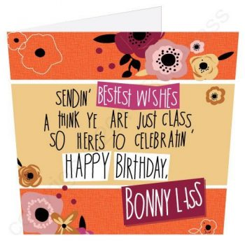 Happy Birthday Bonny Lass Geordie Poetry Card
