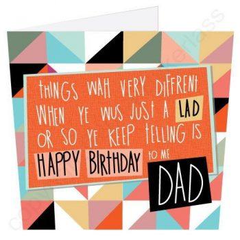 Happy Birthday to me Dad Geordie Poetry Card