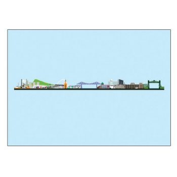 Teesside Skyline Pop Art Card