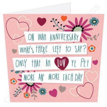 Geordie Poetry Anniversary Card