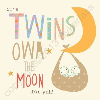 Geordie Card - New Baby Twins