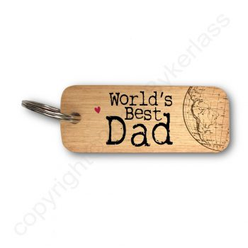 World's Best Dad Wooden Keyring