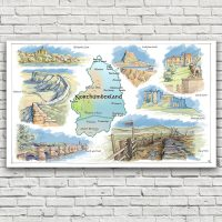 Northumberland Map Tea Towel