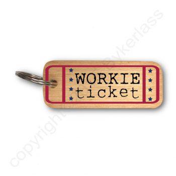 Workie Ticket Wooden Keyring