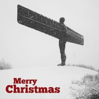 Angel Of The North Snow Christmas Card