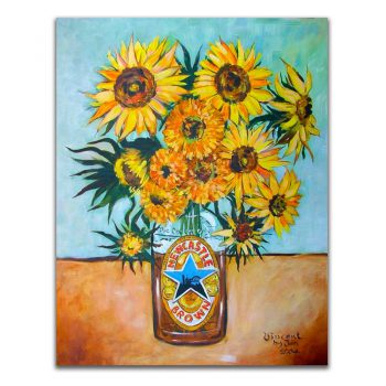 Newcastle Brown Ale Sunflowers Metal Sign