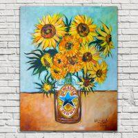 Newcastle Brown Ale Sunflowers Tea Towel