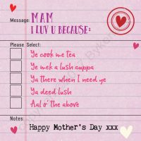 Geordie Mother's Day Card