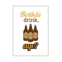 Brown Ale Borthda Drink Geordie card
