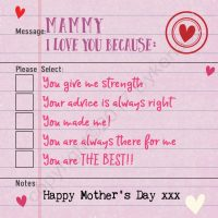 Mammy I Love You Because Mother's Day Card