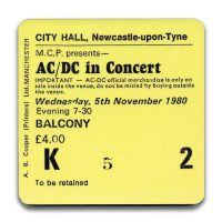 Newcastle City Hall Ticket Coaster ACDC