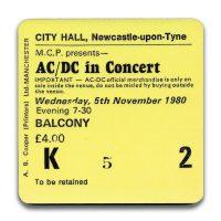 Newcastle City Hall Ticket Coaster ACDC