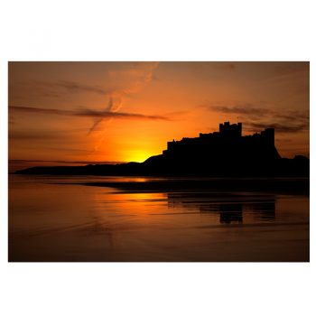 Photo Card Bamburgh Castle Sunset