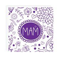 Mam Card Purple On White