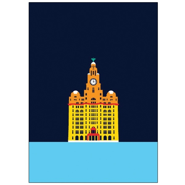 Liver Building Pop Art Card