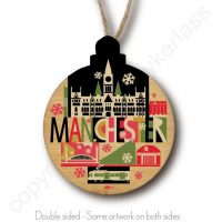 City Scape Manchester Wooden Christmas Bauble