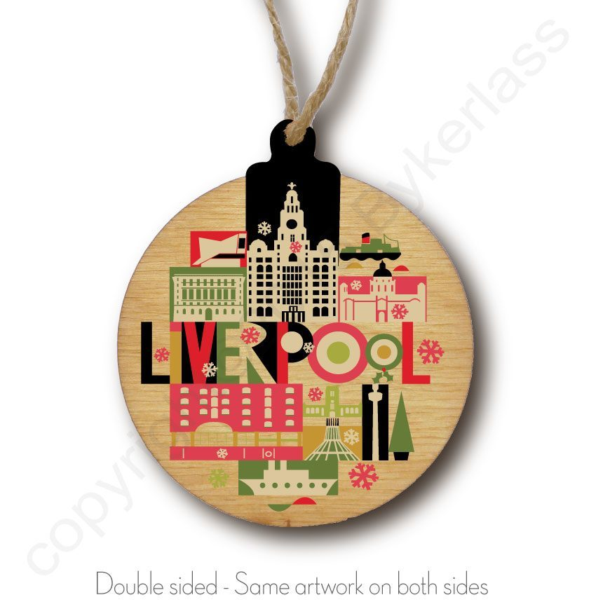 City Scape Liverpool Wooden Christmas Bauble